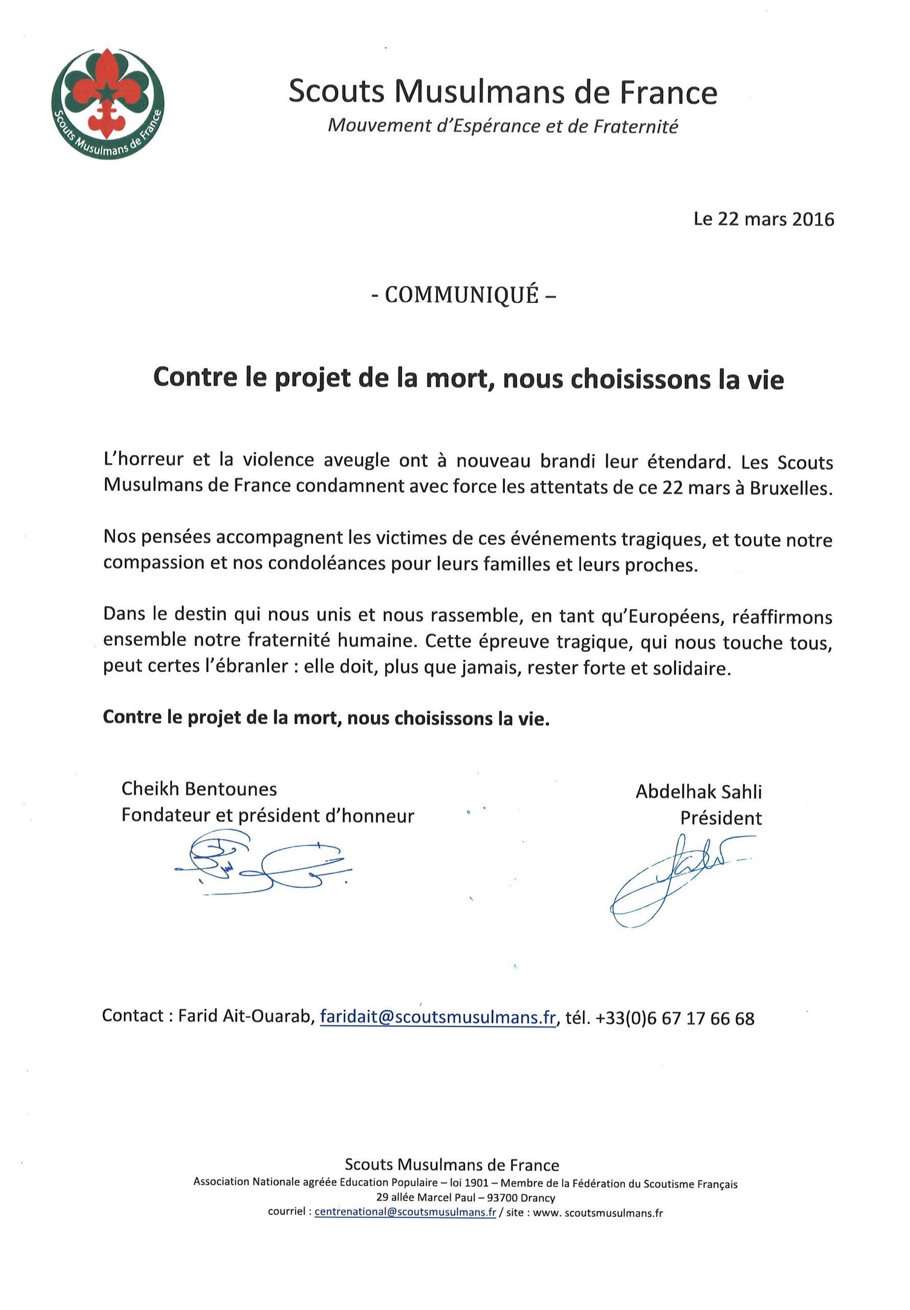 Communiqué Scouts Musulmans de France 22-03-16