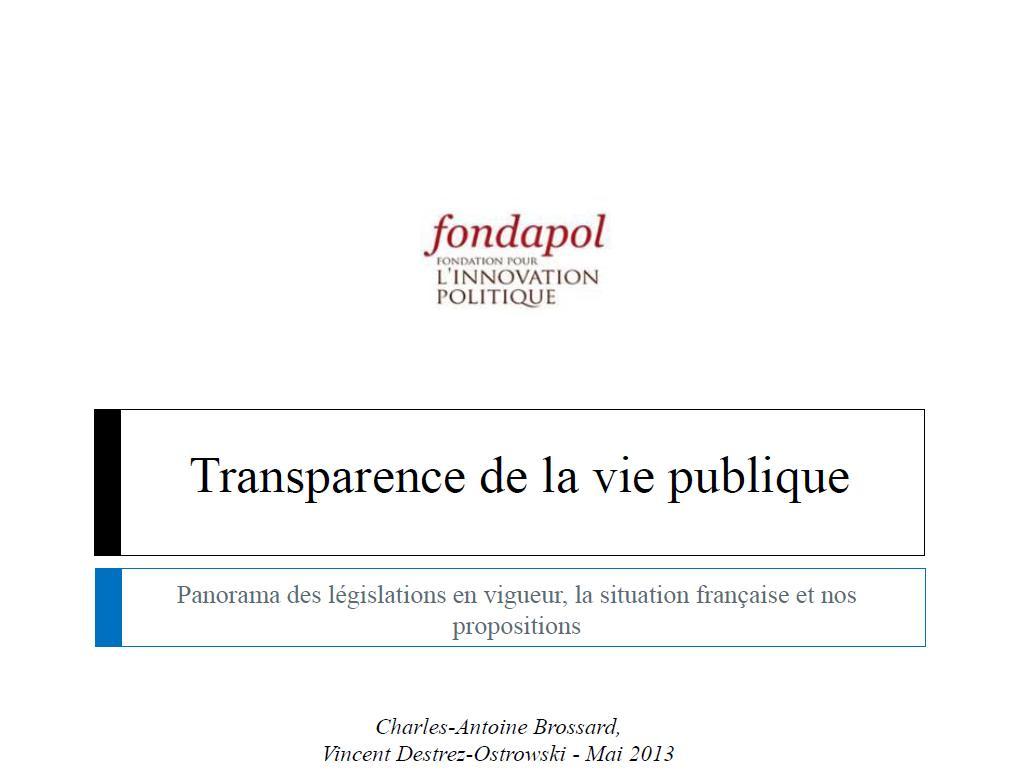 Transparence de la vie publique